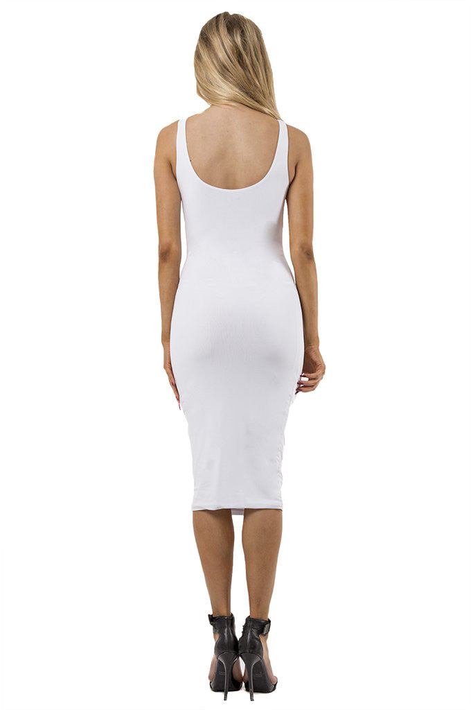 THE MYSTYLEMODE  IVORY ESSENTIAL DOUBLE LINED TANK MIDI DRESS