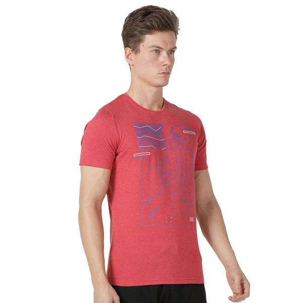 Azani Active Men's Bolt T-shirt - Red Melange