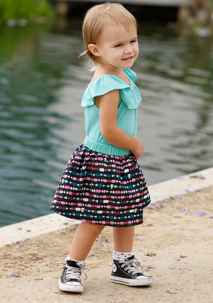 little girls twirl skirt and ruffle top