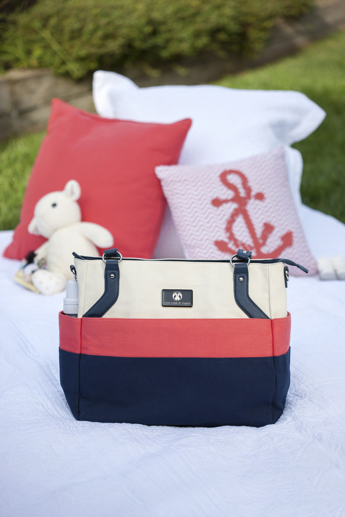 Diaper Bag in Shell/Coral/Navy - Alexis Baby Bag