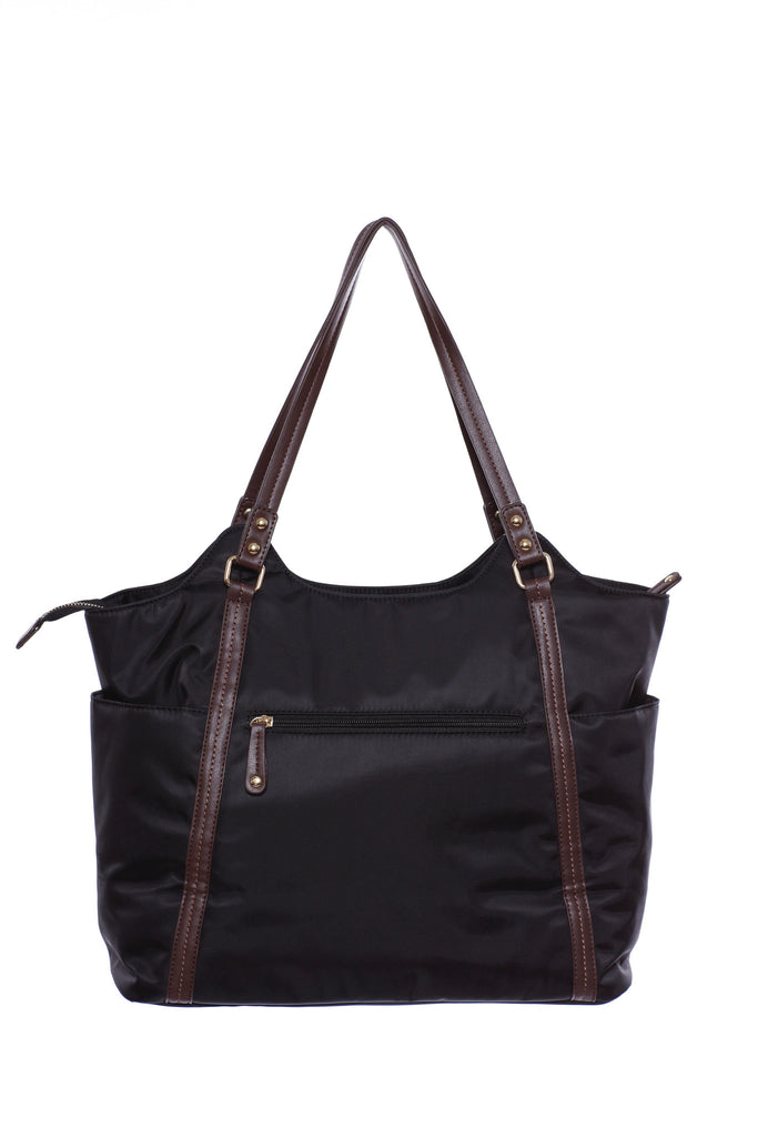 Diaper Bag in Black with Dark Brown trim - Stef Baby Bag