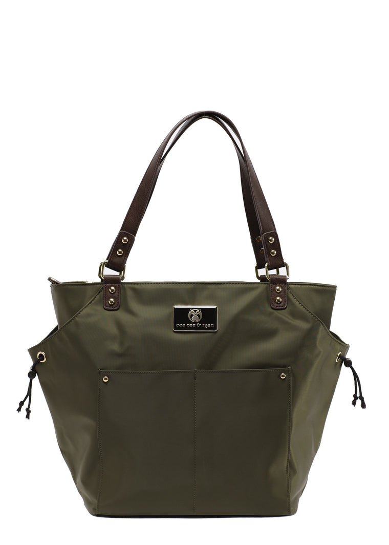 Olive with brown straps Designer Baby Top selling trendy Diaper bag Carryall Tote