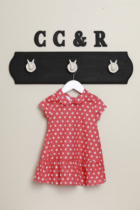 little girls dress 50's style peter pan collar in cat dot print