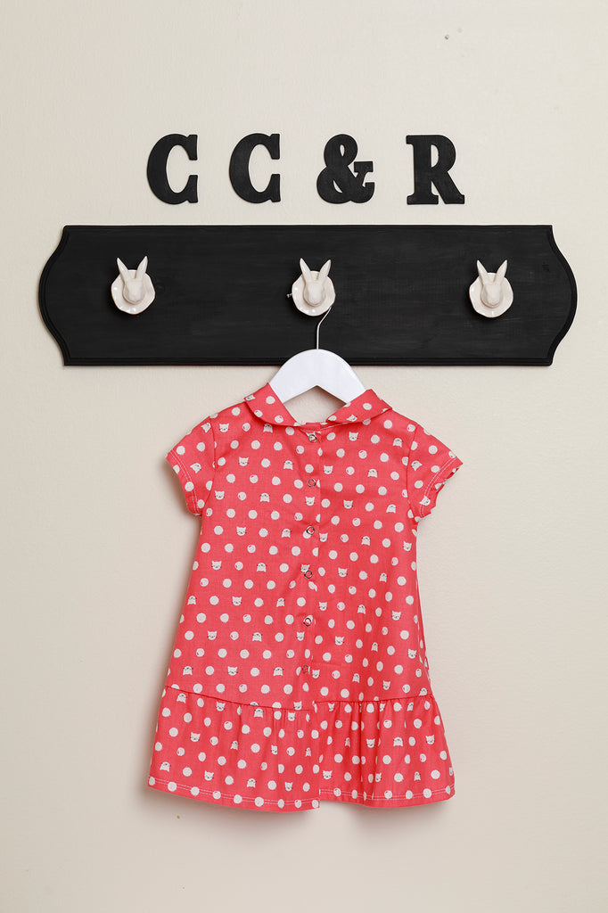 Toddler girls dress peter pan collar 50's style cat dot
