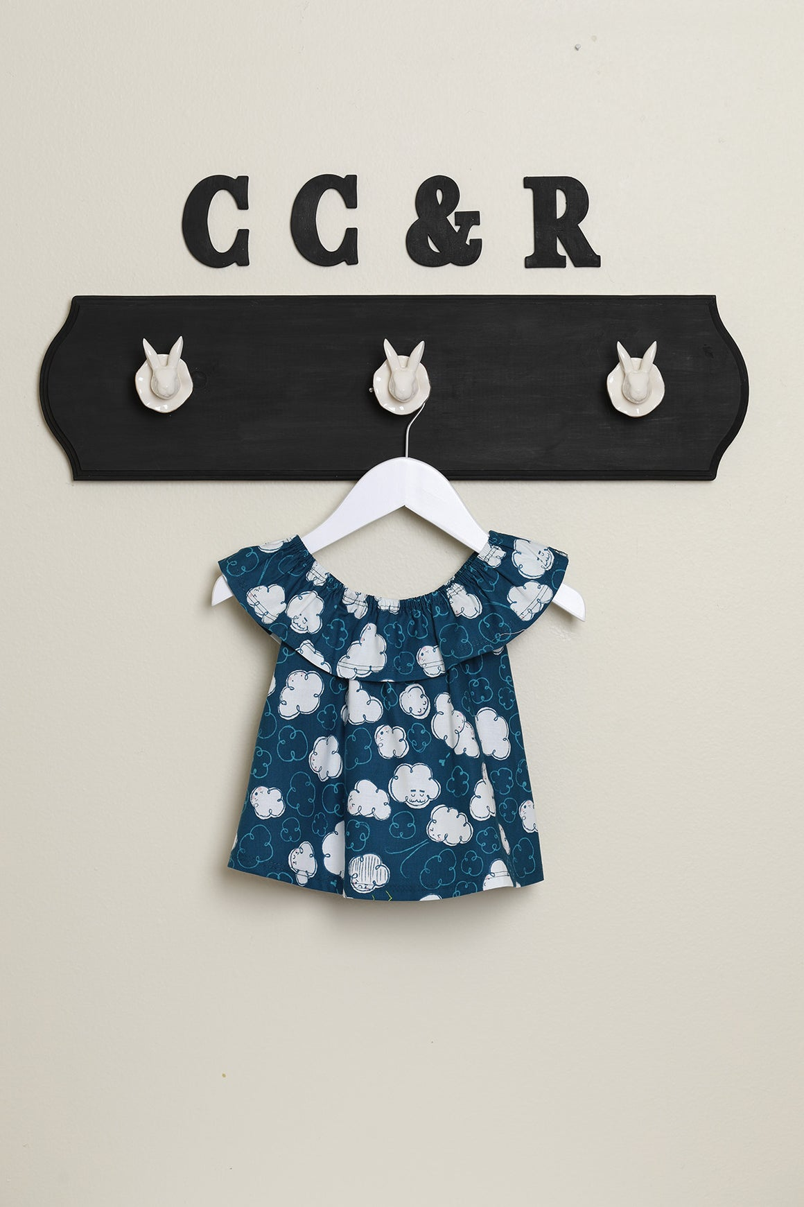 girls top kids pretty ruffle neck blue clouds top