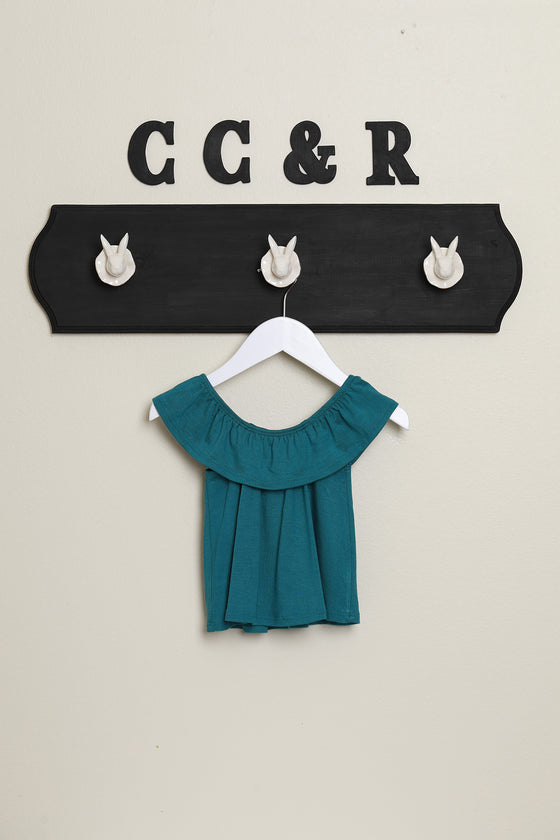 girls knit top ruffle neck swing shirt teal