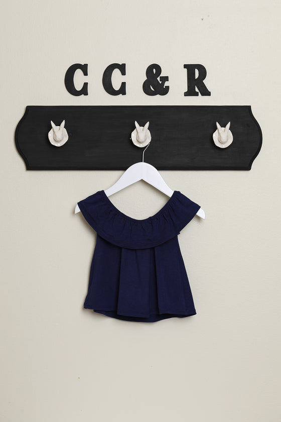 girls knit top ruffle neck swing shirt navy