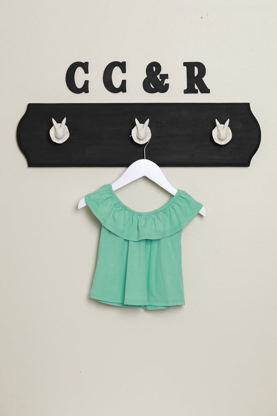 girls knit top ruffle neck swing shirt mint