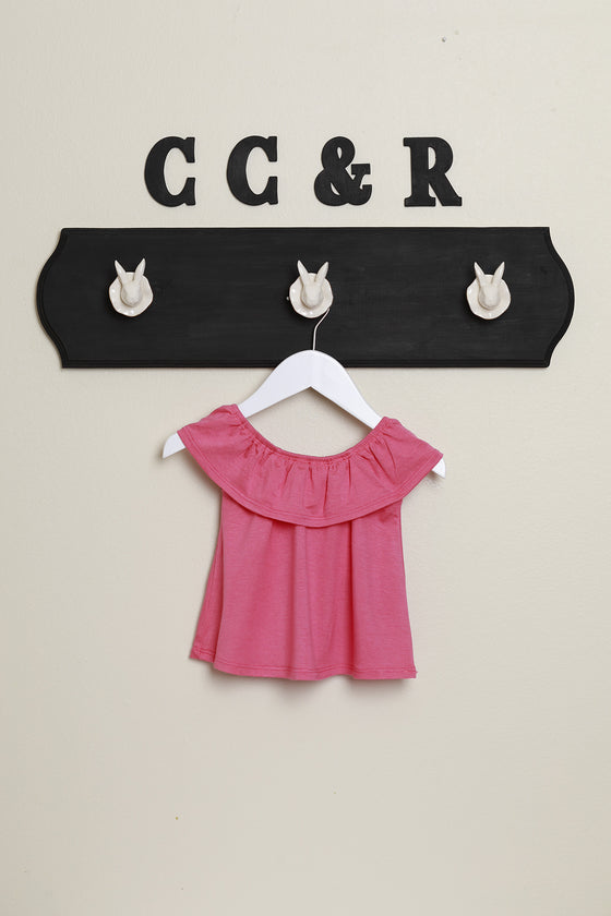 girls knit top ruffle neck swing shirt pink