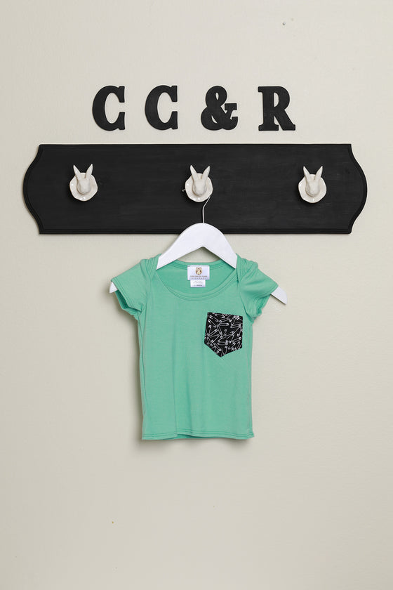 kids short sleeve tee mint safety pin print