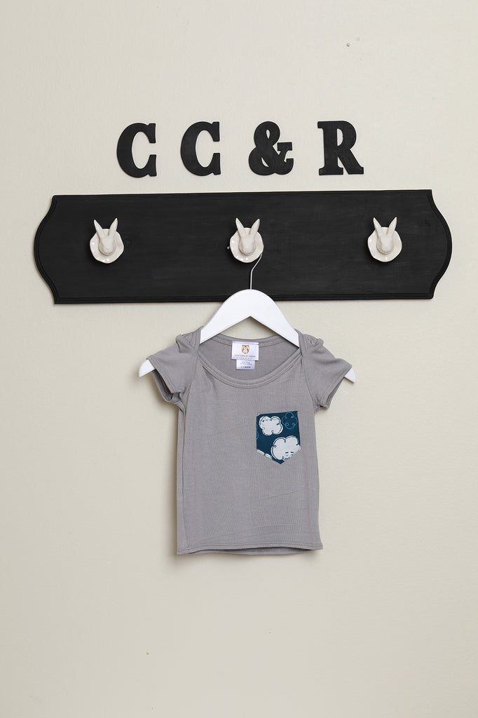 kids knit tee short sleeve tee grey cloud print