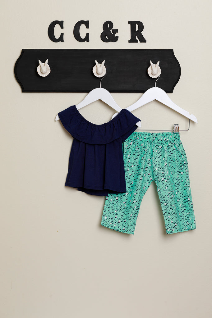 Navy Blue Ruffle Top with Panda Pant