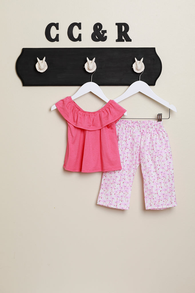 Ruffle Neck Shirt with Flamingo Pants