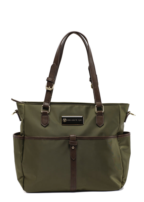 Olive with brown straps and gold buckles Designer Baby Top selling trendy Diaper bag Carryall Tote