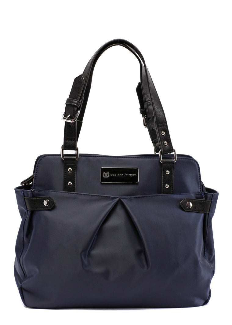 Midnight blue navy with black straps Designer Baby Top selling trendy Diaper bag Carryall Tote
