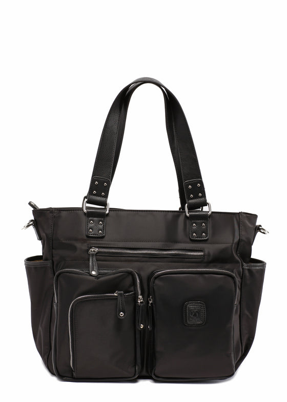 Black with sliver zipper Designer Baby Top selling trendy Diaper bag Carryall Tote