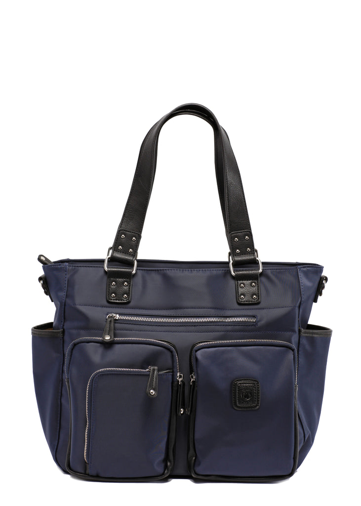 Midnight blue navy with silver zipper Designer Baby Top selling trendy Diaper bag Carryall Tote
