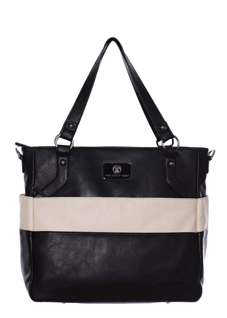 Black and white stripes Designer Baby Top selling trendy Diaper bag Carryall Tote