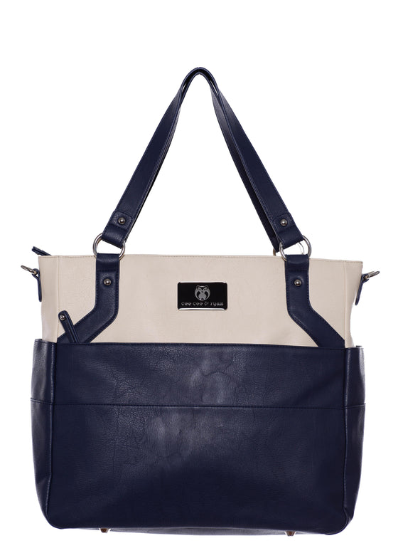 Navy white creme Designer Baby Top selling trendy Diaper bag Carryall Tote