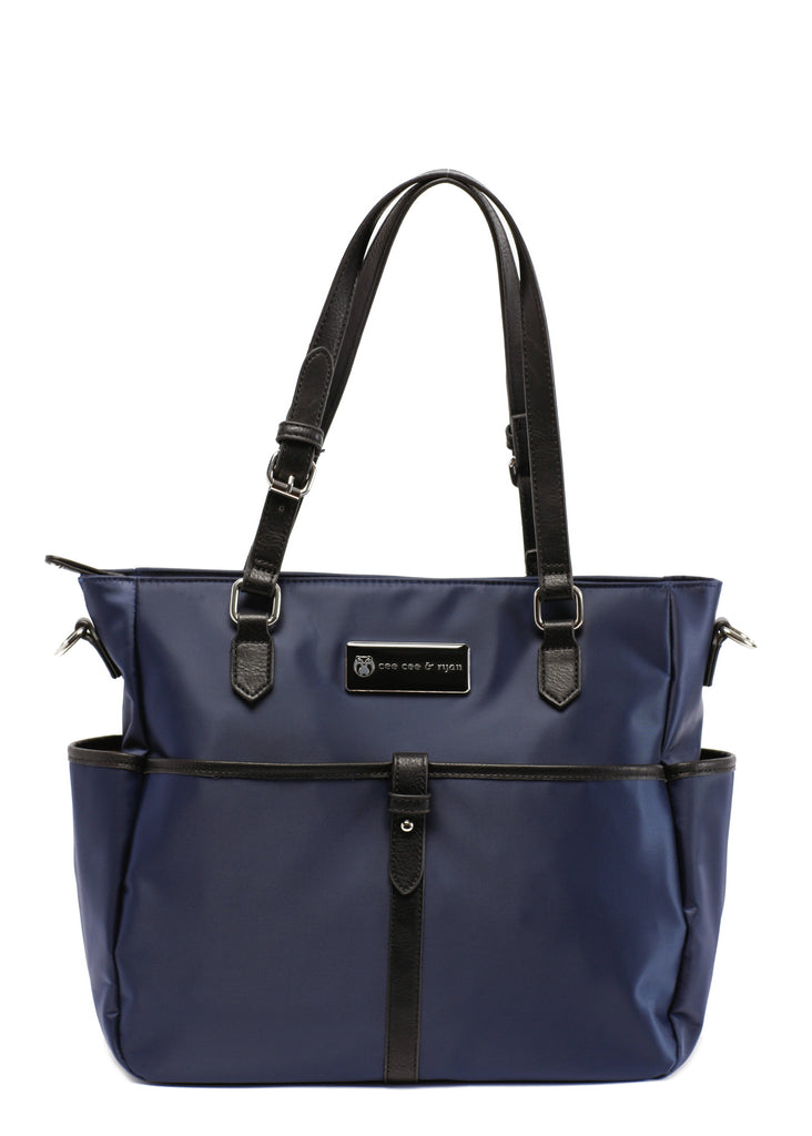 midnight blue with black straps Designer Baby Top selling trendy Diaper bag Carryall Tote