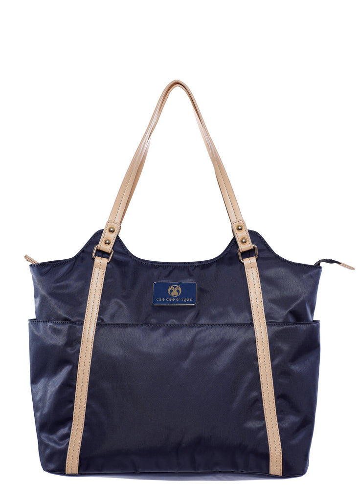 Midnight navy blue with white creme strap Designer Baby Top selling trendy Diaper bag Carryall Tote