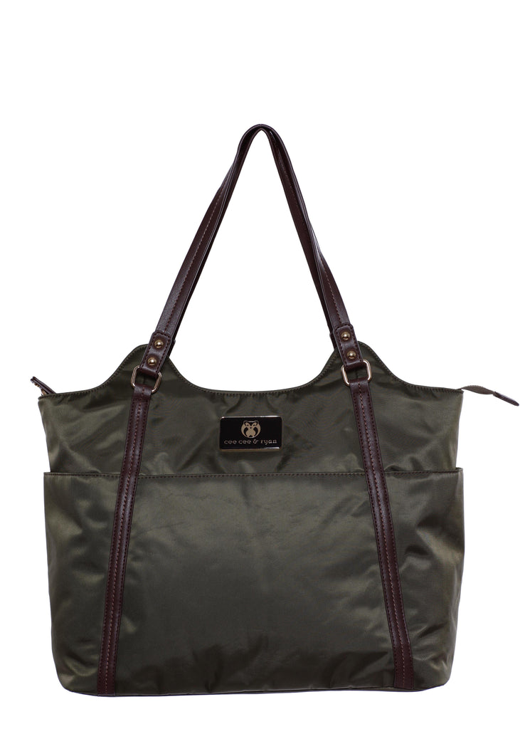 Olive with black straps Designer Baby Top selling trendy Diaper bag Carryall Tote