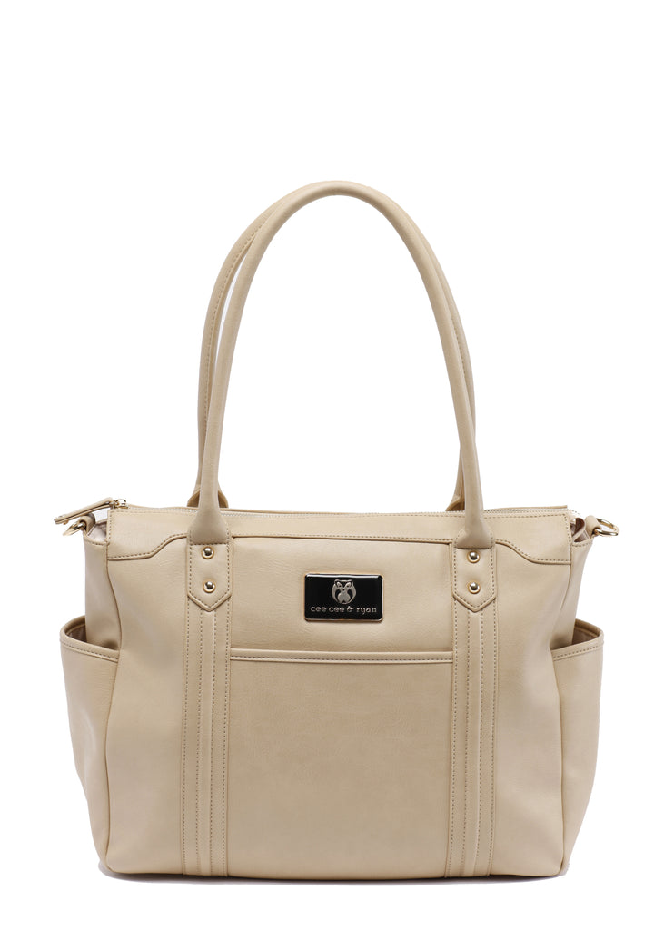 Oyster Tan creme Designer Baby Top selling trendy Diaper bag Carryall Tote