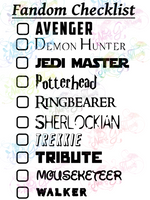 Multi Fandom Checklist #1 - Digital Print, SVG, PNG, JPG Files