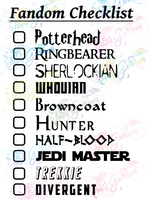 Multi Fandom Checklist #5 - Digital Print, SVG, PNG, JPG Files