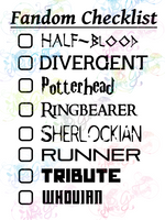 Multi Fandom Checklist #3 - Digital Print, SVG, PNG, JPG Files