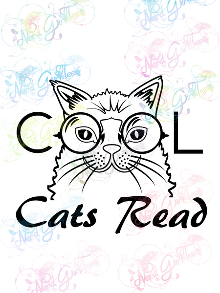 Cool Cats Read - Books - Digital Print, SVG, PNG, JPG Files