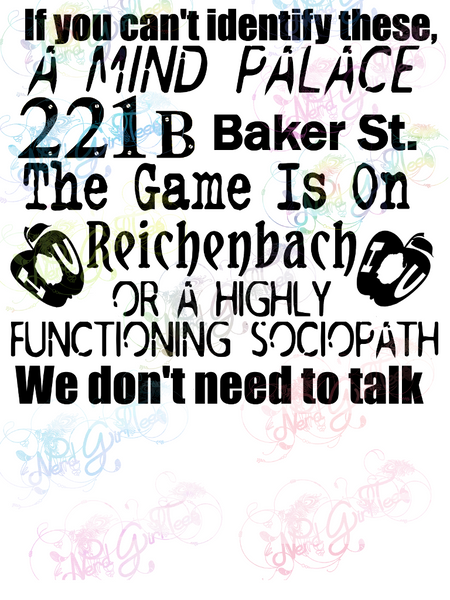 We Don't Need To Talk - Sherlock - Fandoms - Digital Print, SVG, PNG, JPG Files