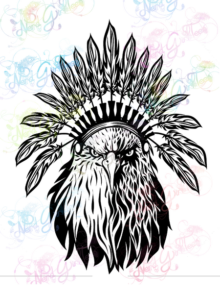 Eagle Headdress - Native American - Digital Print, SVG, PNG, JPG Files