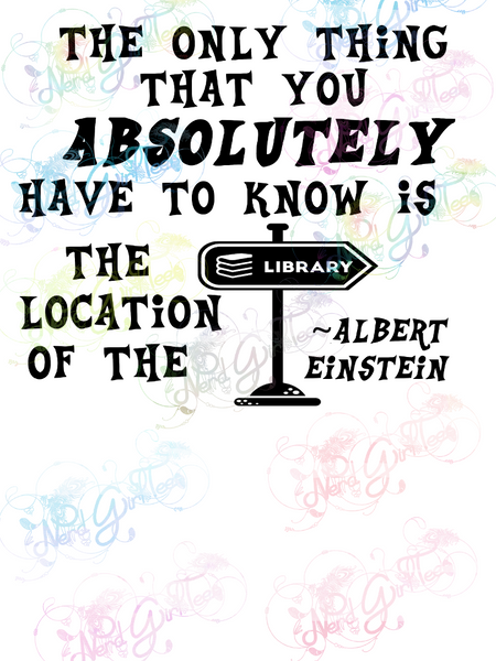 Albert Einstein - Library Quote - Books - Digital Print, SVG, PNG, JPG Files