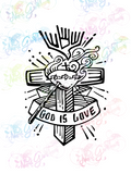 God Is Love - Christianity - Digital Print, SVG, PNG, JPG Files