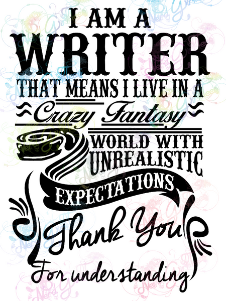 I Am A Writer - Books - Digital Print, SVG, PNG, JPG Files