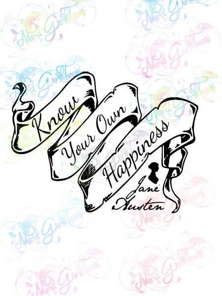 Jane Austen - Know Your Own Happiness - Books - Digital Print, SVG, PNG, JPG Files