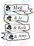 Little Women Names - Louisa May Alcott - Books - Digital Print, SVG, PNG, JPG Files