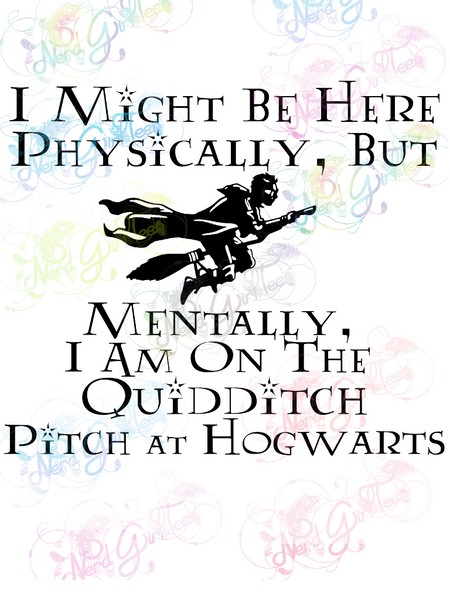 Mentally I'm at Hogwarts - Potter - Digital Print, SVG, PNG, JPG Files
