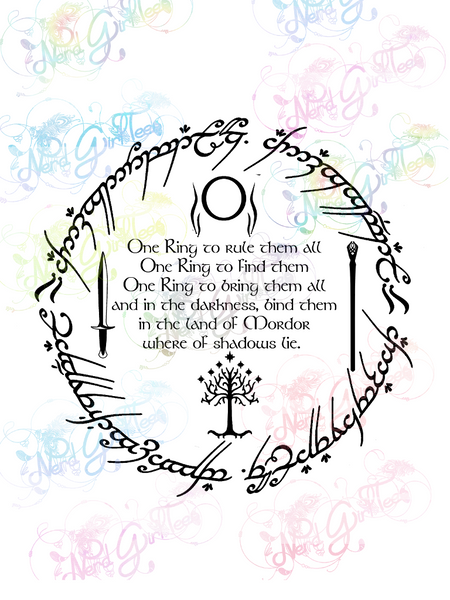 One Ring Inscription with Symbols - LOTR - Digital Print, SVG, PNG, JPG Files