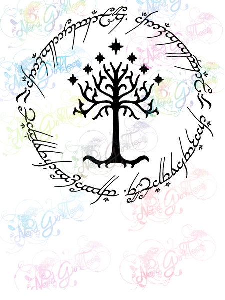 One Ring Inscription with Tree of Gondor - LOTR - Digital Print, SVG, PNG, JPG Files