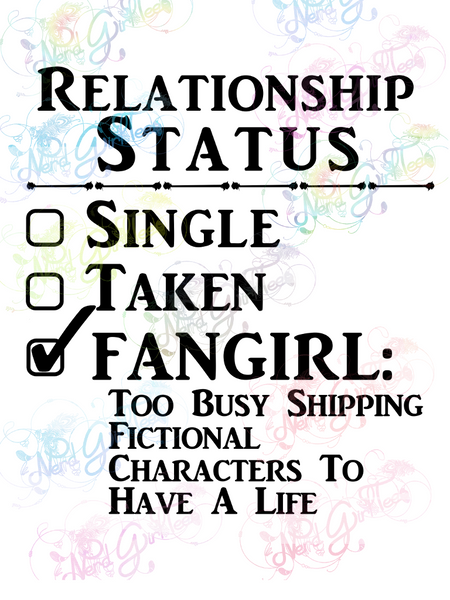 Relationship Status - Fangirl - Multi Fandom - Digital Print, SVG, PNG, JPG Files