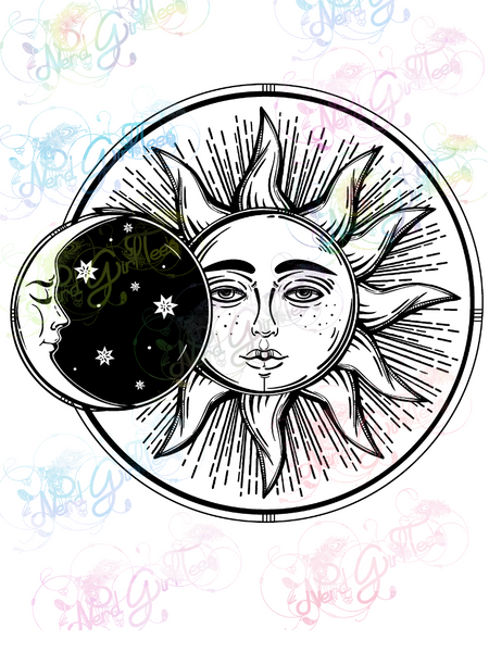 Sun and Moon - Digital Print, SVG, PNG, JPG Files