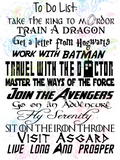 Nerdy To Do List - Multi Fandom - Digital Print, SVG, PNG, JPG Files