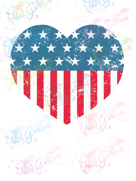USA Heart - USA Flag - America - Digital Print, SVG, PNG, JPG Files