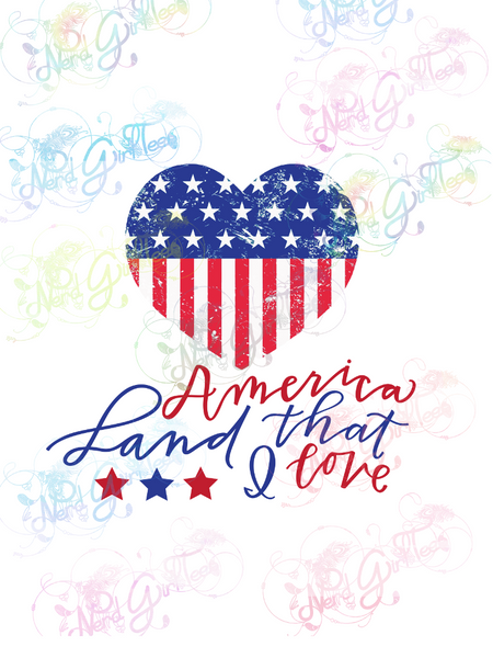 America Land That I Love - USA Heart - Digital Print, SVG, PNG, JPG Files