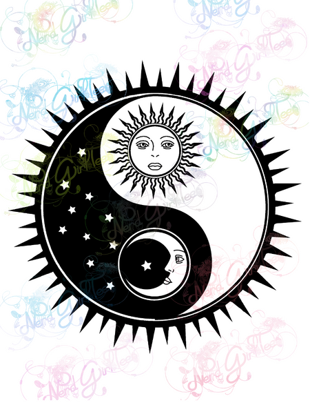 Sun and Moon - Yin Yang - Digital Print, SVG, PNG, JPG Files