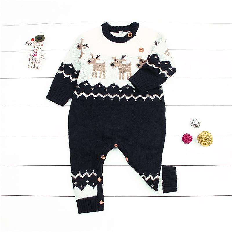 Christmas Jumpsuit Baby.Navy Or Red Baby Unisex Reindeer Christmas Jumpsuit