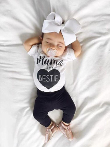 "Baby Girls ""Mama is My Bestie"" Shirt & Pants Set"