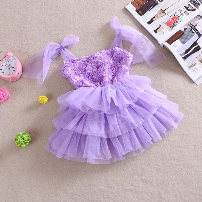 Girls Tulle & Roses Layered Dress